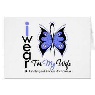 Esophageal Cancer I Wear Butterfly Ribbon WIFE Greeting Card