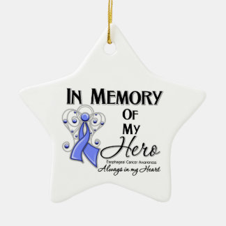 Esophageal Cancer In Memory of My Hero Ceramic Ornament