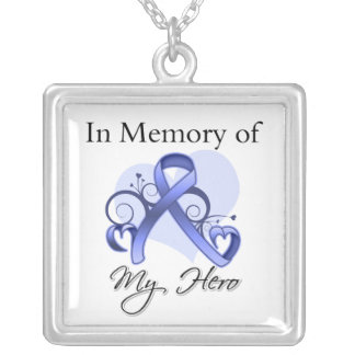 Esophageal Cancer - In Memory of My Hero Square Pendant Necklace