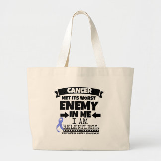 Esophageal Cancer Met Its Worst Enemy in Me Large Tote Bag