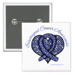 Esophageal Cancer Mosaic Heart Ribbon 2 Inch Square Button