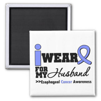 Esophageal Cancer Periwinkle Ribbon For My Husband 2 Inch Square Magnet