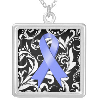 Esophageal Cancer Ribbon Deco Floral Noir Personalized Necklace