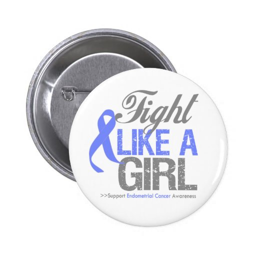 Esophageal Cancer Ribbon - Fight Like a Girl 2 Inch Round Button