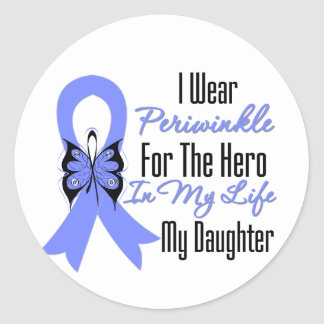 Esophageal Cancer Ribbon Hero My Daughter Classic Round Sticker