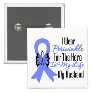 Esophageal Cancer Ribbon Hero My Husband 2 Inch Square Button