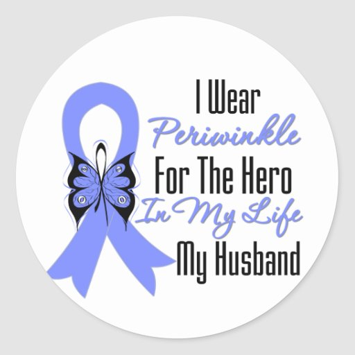 Esophageal Cancer Ribbon Hero My Husband Round Sticker