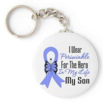 Esophageal Cancer Ribbon Hero My Son Basic Round Button Keychain