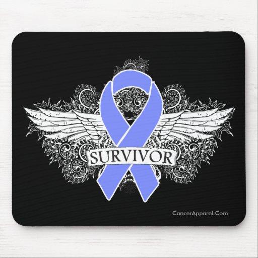 Esophageal Cancer Winged SURVIVOR Ribbon Mousepads