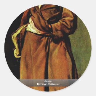 Esopo de Diego Velázquez Pegatina Redonda