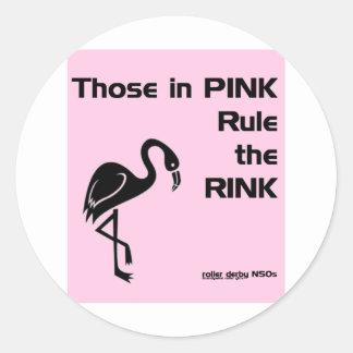 Ésos en rosa: NSOs de Derby del rodillo Pegatina Redonda
