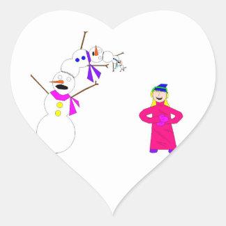 Esos muñecos de nieve pobres pobres… pegatina de corazon personalizadas
