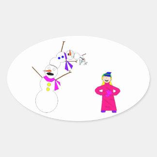 Esos muñecos de nieve pobres pobres… calcomanía ovalada