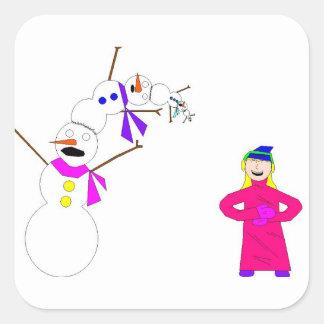Esos muñecos de nieve pobres pobres… pegatinas cuadradases personalizadas