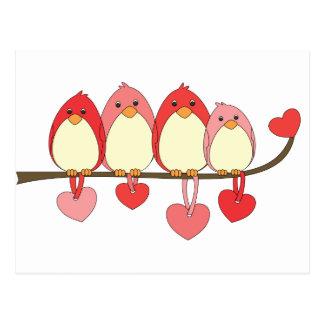 Esos pájaros el día de San Valentín Tarjeta Postal