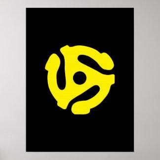 Espaciador retro DJ del amarillo 45 del vintage Póster