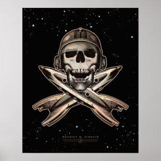 """Espacie el poster del pirata (cohetes) (16x20"""")"""