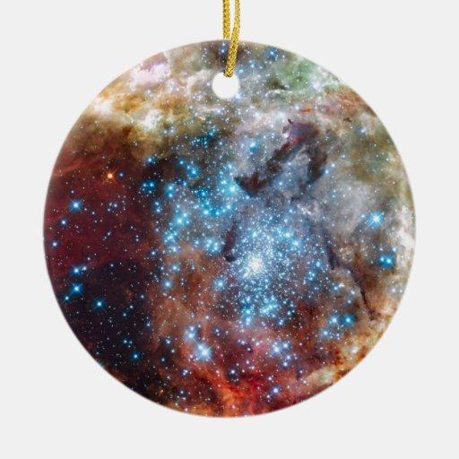 Espacio 18 adorno navideño redondo de cerámica