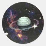 Espacio, anillos de Saturn y lunas Pegatinas Redondas