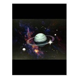 Espacio anillos de Saturn y lunas Postal