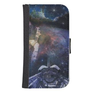 Espacio - astronauta, despegue y collage de la billetera para teléfono