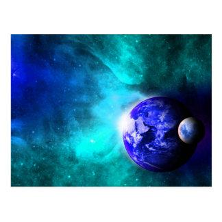 Espacio azul de la luna de la tierra tarjeta postal