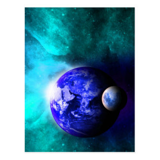 Espacio azul de la luna de la tierra tarjetas postales