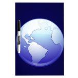 espacio azul del mundo del globo del planeta de la pizarra blanca