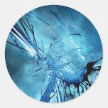 Espacio azul etiqueta
