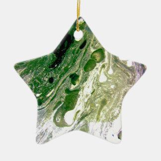 Espacio blanco púrpura verde de la deformación adorno de cerámica en forma de estrella