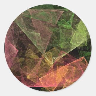 Espacio cúbico del arte abstracto pegatina redonda