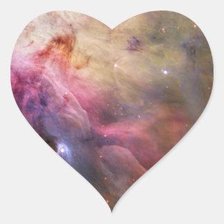 Espacio de Hubble de la nebulosa de Orión Pegatina De Corazón