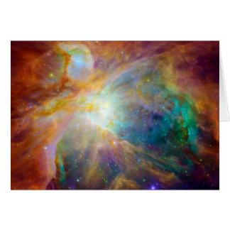 Espacio de Hubble Spitzer de la nebulosa de Orión Felicitación