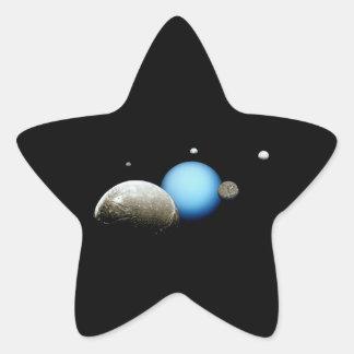 Espacio de la NASA de Urano y de las lunas Pegatina En Forma De Estrella