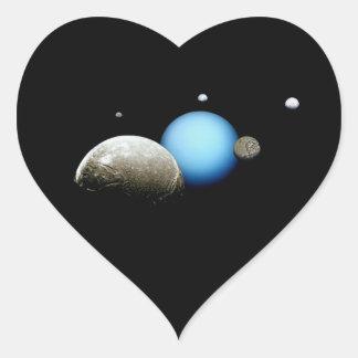 Espacio de la NASA de Urano y de las lunas Calcomania Corazon Personalizadas