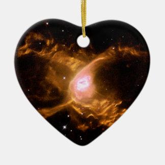 Espacio de la nebulosa de la araña roja adorno navideño de cerámica en forma de corazón