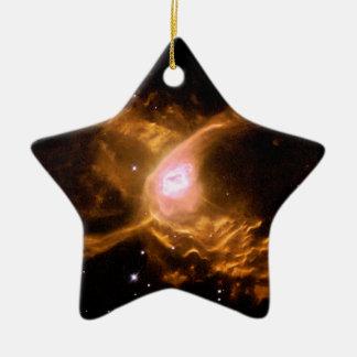 Espacio de la nebulosa de la araña roja adorno navideño de cerámica en forma de estrella