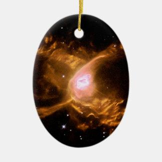 Espacio de la nebulosa de la araña roja adorno navideño ovalado de cerámica