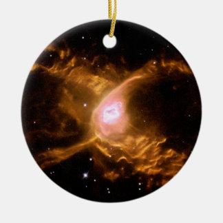 Espacio de la nebulosa de la araña roja adorno navideño redondo de cerámica