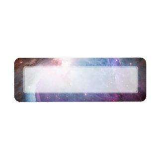 Espacio de la púrpura de la nebulosa de Orión Etiqueta De Remite