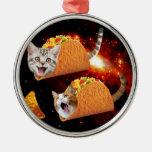 Espacio de los gatos del Taco Adorno Navideño Redondo De Metal