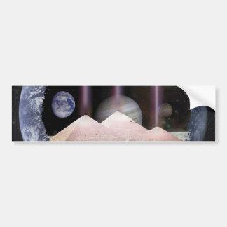 Espacio de los planetas de las pirámides pegatina para auto