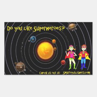 espacio de los super héroes pegatina rectangular