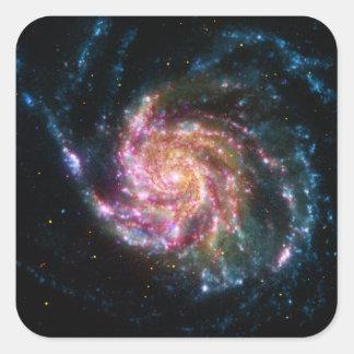 Espacio del espiral de la galaxia del molinillo de pegatina cuadrada