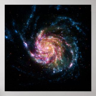 Espacio del espiral de la galaxia del molinillo de póster