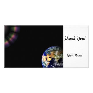 Espacio del globo de la tierra tarjetas personales