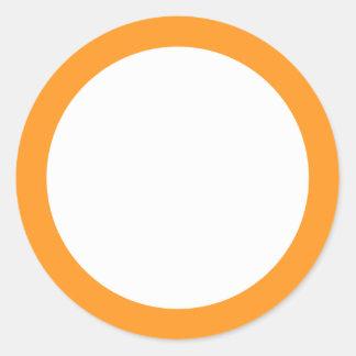 Espacio en blanco anaranjado de la frontera pegatina redonda