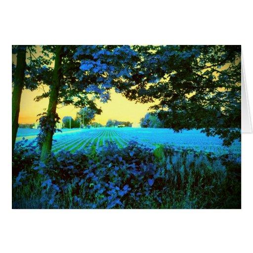 Espacio en blanco azul de la foto del arte del paí tarjetas