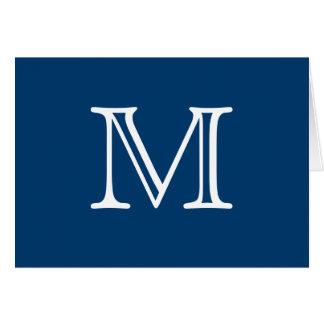 Espacio en blanco blanco azul del monograma simple tarjeta pequeña