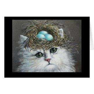 Espacio en blanco blanco Notecard del gato persa Tarjeta Pequeña